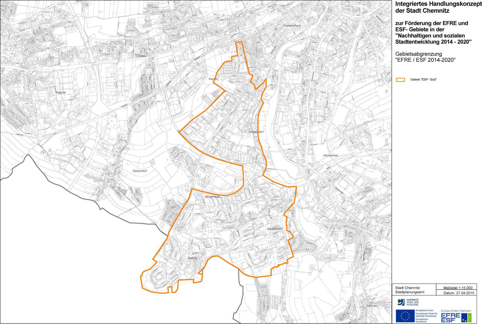 """Übersicht Gebietsabgrenzung """"ESF-Süd"""" für Förderungen"""